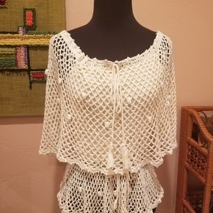 1970s Hand Crocheted Knit Blouse